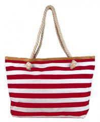 Červeno-bílá lehká plážová taška přes rameno H-106-3