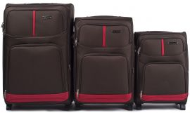 Sada 3 textilních kufrů WINGS 206 COFFEE L/M/S