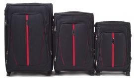 Sada 3 textilních kufrů WINGS 1706 BLACK L/M/S