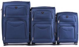 Sada 3 textilních kufrů WINGS 6802 BLUE L/M/S