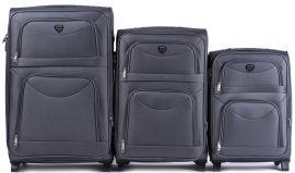 Sada 3 textilních kufrů WINGS 6802 GREY L/M/S