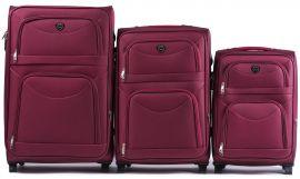 Sada 3 textilních kufrů WINGS 6802 RED L/M/S