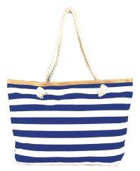 Velká svetlomodro-bílá lehká plážová taška přes rameno H-106-3