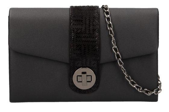 Černé matné dámské psaníčko na řetízku s černými doplňky