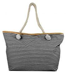 Velká černo-bílá pruhovaná lehká plážová taška přes rameno H-106-7
