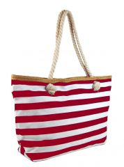 Velká červeno-bílá lehká plážová taška přes rameno H-106-3 NEW BERRY E-batoh