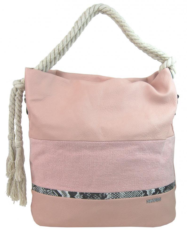 Velká růžová dámská kabelka s lanovými uchy 4543-BB