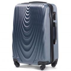 Cestovní kufr WINGS 304 ABS SILVER BLUE střední M