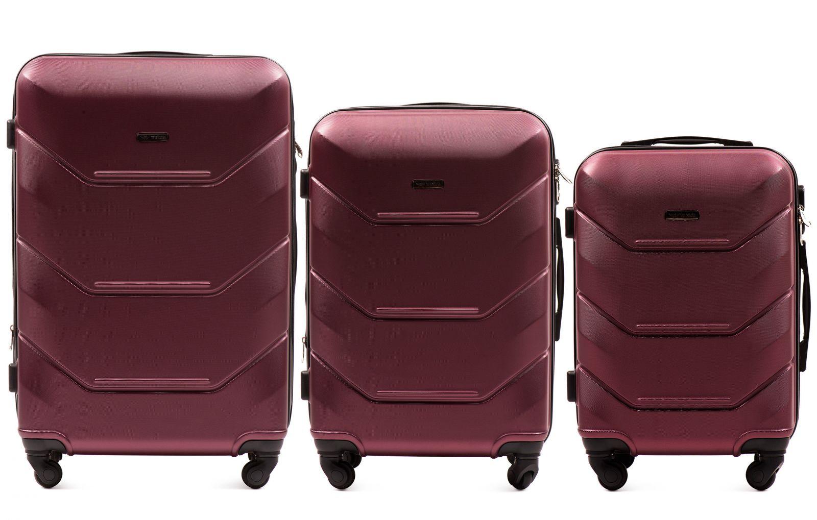 Cestovní kufry sada WINGS 147 ABS BURGUNDY L,M,S