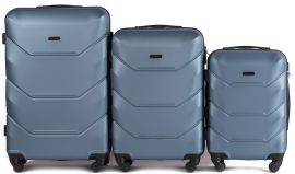 Cestovní kufry sada WINGS 147 ABS SILVER BLUE L,M,S