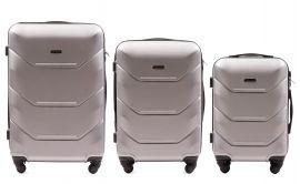 Cestovní kufry sada WINGS 147 ABS SILVER L,M,S