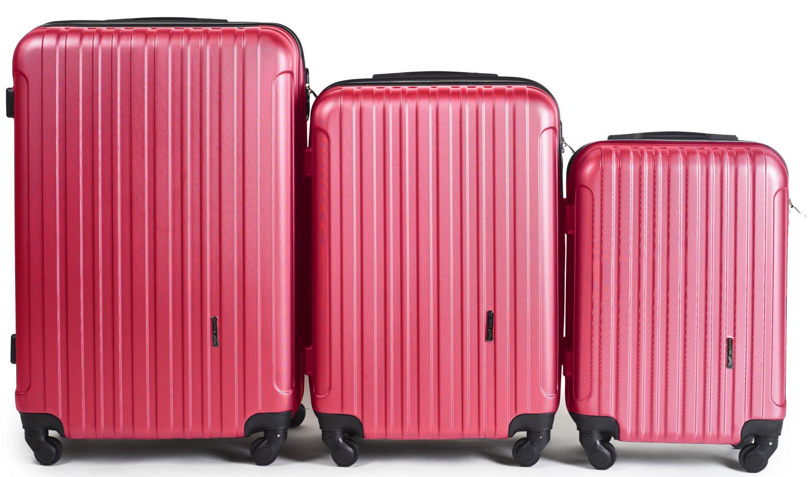 Cestovní kufry sada WINGS 2011 ABS ROSE RED L,M,S