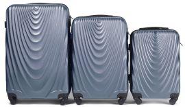 Cestovní kufry sada WINGS 304 ABS SILVER BLUE L,M,S