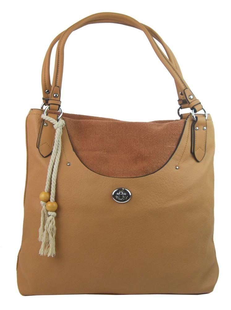 Velká moderní hnědá dámská kabelka přes rameno 4620-BB