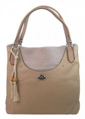Velká moderní hnědo-béžová dámská kabelka přes rameno 4620-BB