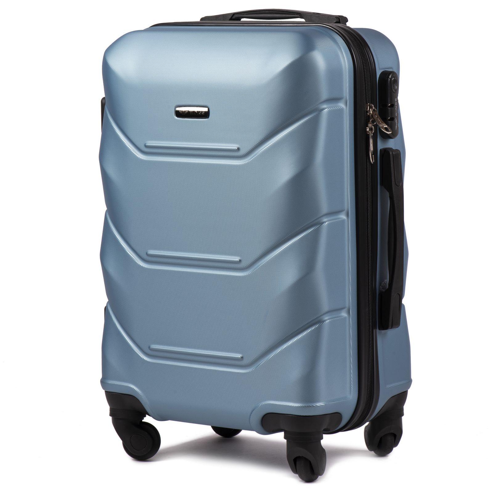 Cestovní kufr WINGS 147 ABS SILVER BLUE malý S