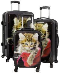 Cestovní kufry sada KOČKY L,M,S