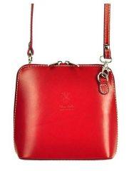 Kožená malá dámská crossbody kabelka červená