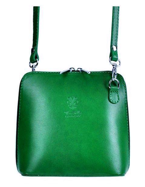 Kožená malá dámská crossbody kabelka zelená