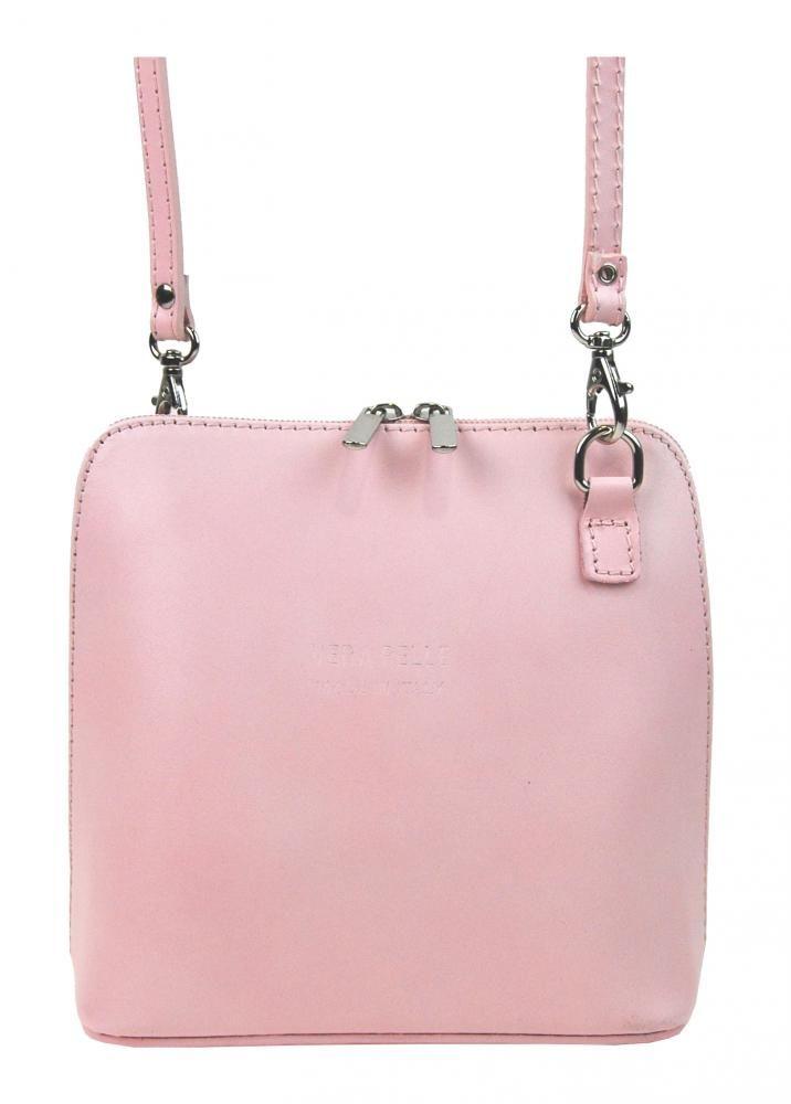 Kožená malá dámská crossbody kabelka světlá růžová