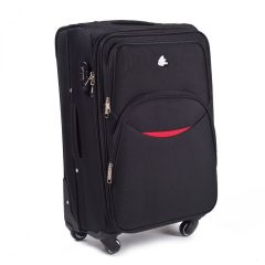 Cestovní látkový kufr WINGS 1708 BLACK velký L