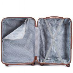 Cestovní kufr WINGS 402 ABS SILVER BLUE malý S E-batoh