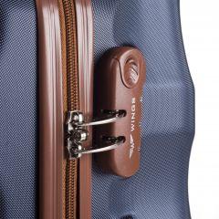 Cestovní kufr WINGS 402 ABS SILVER BLUE malý xS E-batoh