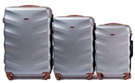 Cestovní kufry sada WINGS 402 ABS SILVER L,M,S