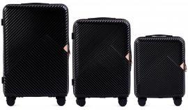 Cestovní kufry sada WINGS DOVE ABS+TSA BLACK L,M,S