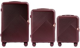 Cestovní kufry sada WINGS DOVE ABS+TSA DARK RED L,M,S