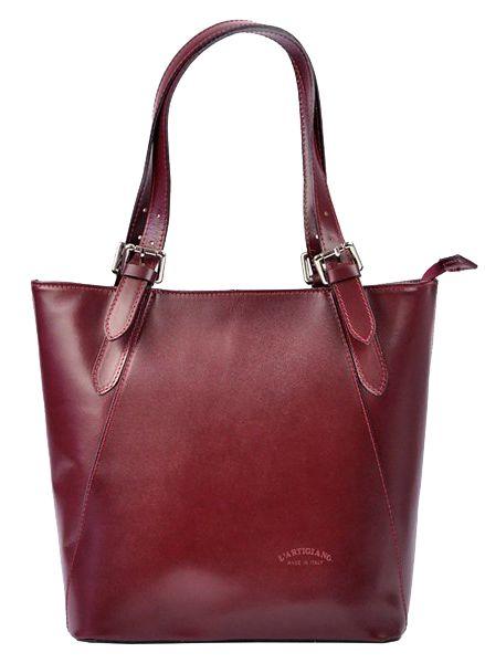 Velká bordová kožená dámská kabelka přes rameno L Artigiano