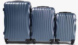 Cestovní kufry sada WINGS 159 ABS SILVER BLUE L,M,S