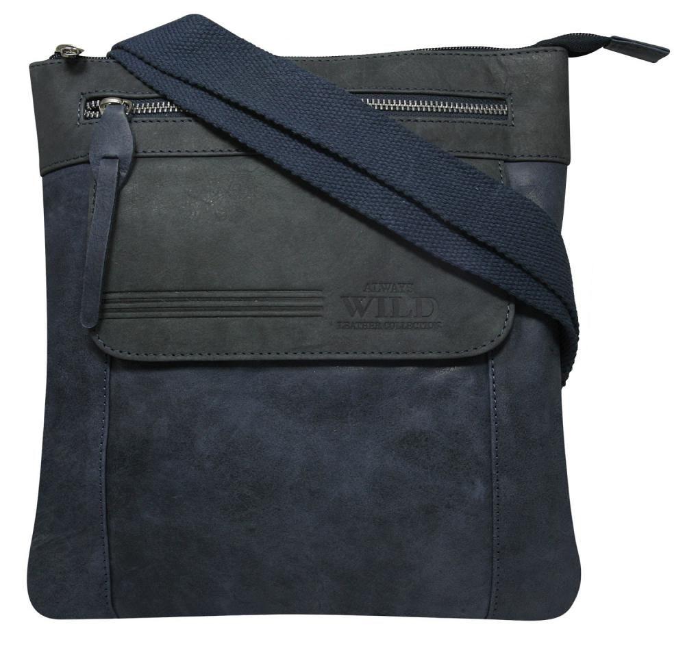 WILD Kožená pánská crossbody taška modrá