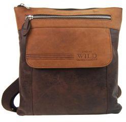 WILD Kožená pánská crossbody taška tmavě hnědá