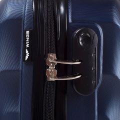 Cestovní kufr WINGS 159 ABS BLUE malý S E-batoh