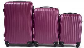 Cestovní kufry sada WINGS 159 ABS DARK PURPLE L,M,S