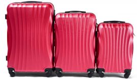 Cestovní kufry sada WINGS 159 ABS ROSE RED L,M,S