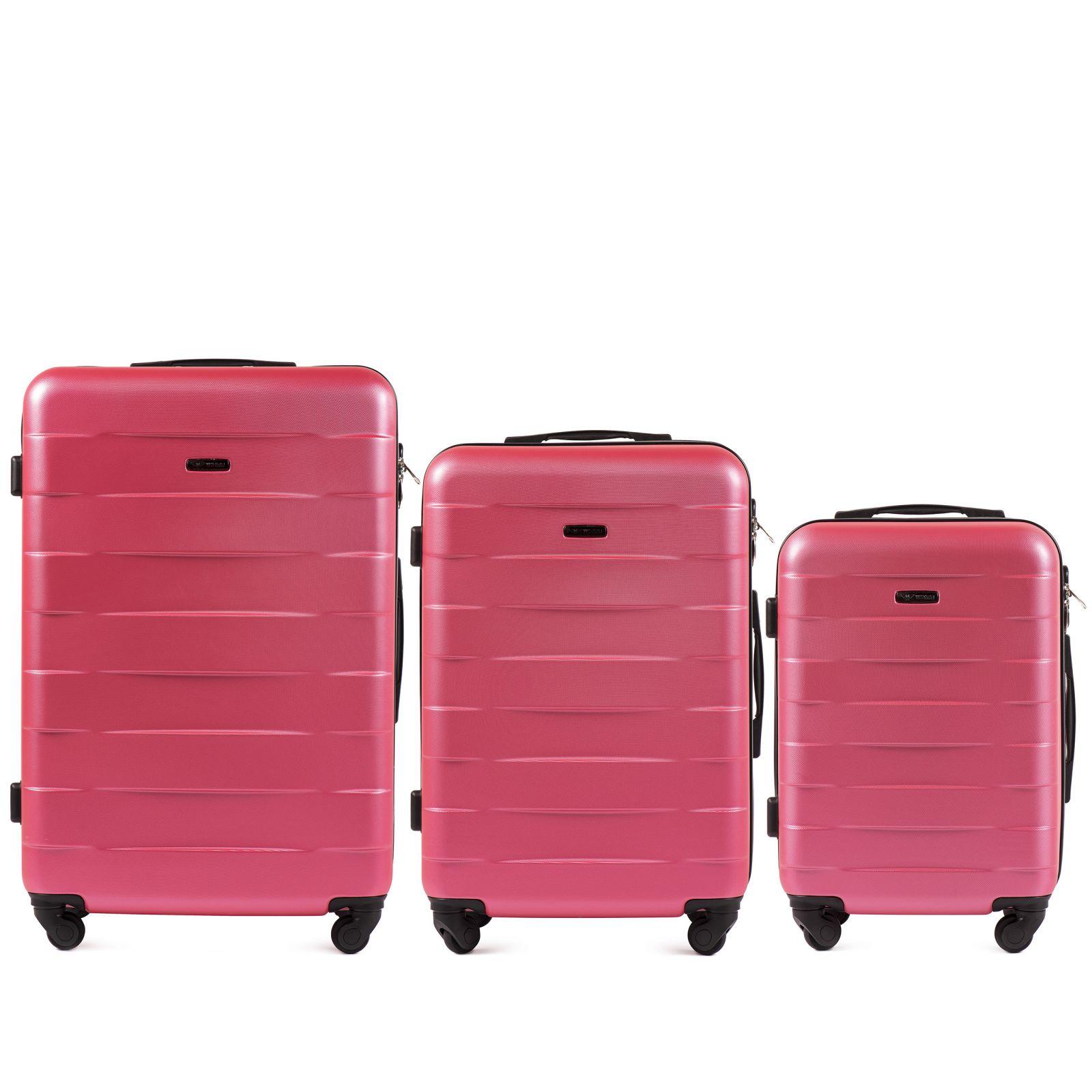 Cestovní kufry sada WINGS CAMARO ABS ROSE RED L,M,S