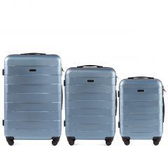 Cestovní kufry sada WINGS CAMARO ABS SILVER BLUE L,M,S