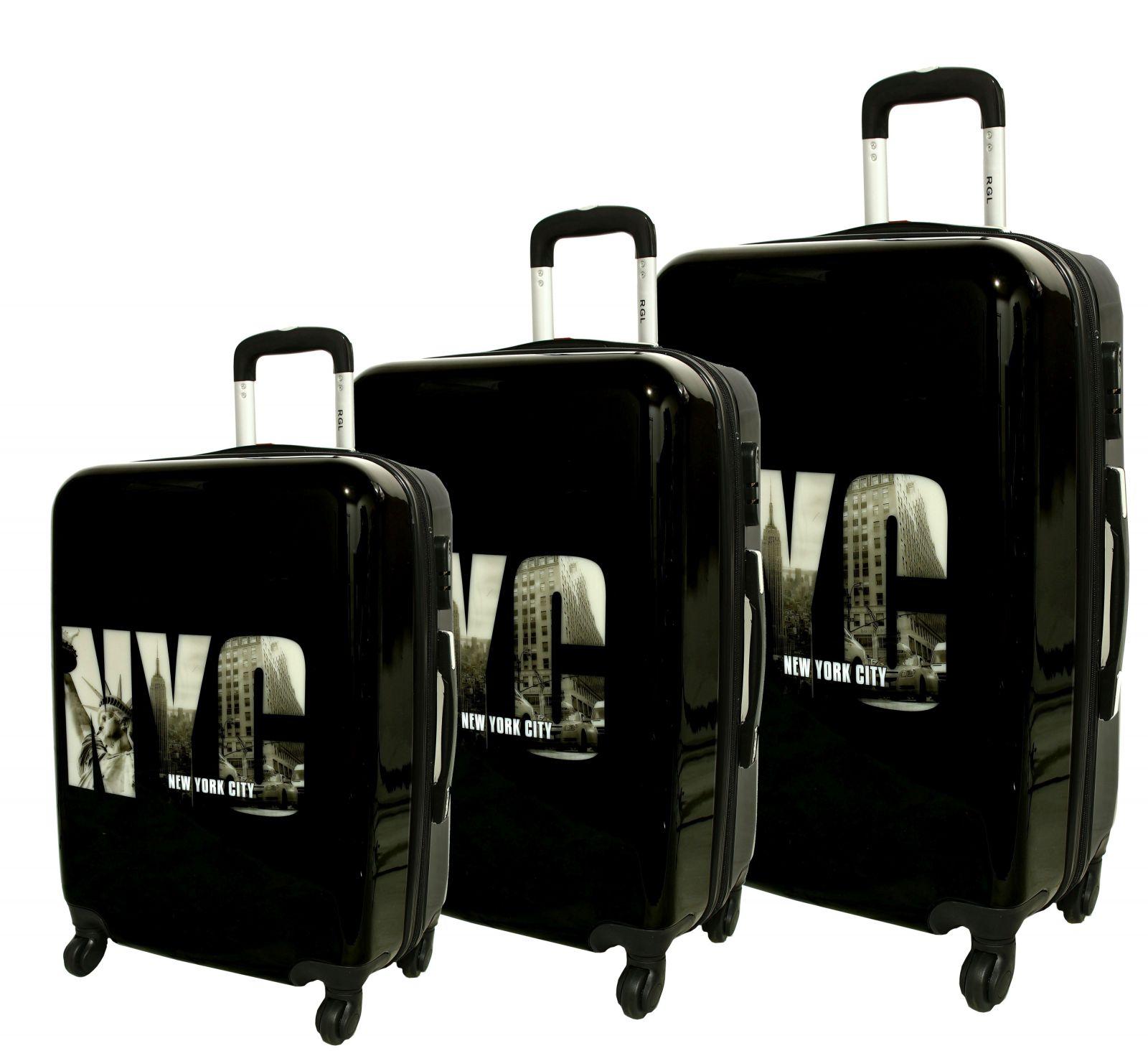 Cestovní kufry sada ABS NYC L,M,S RGL E-batoh