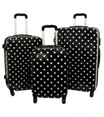 Cestovní kufry sada ABS BLACK-DOT L,M,S