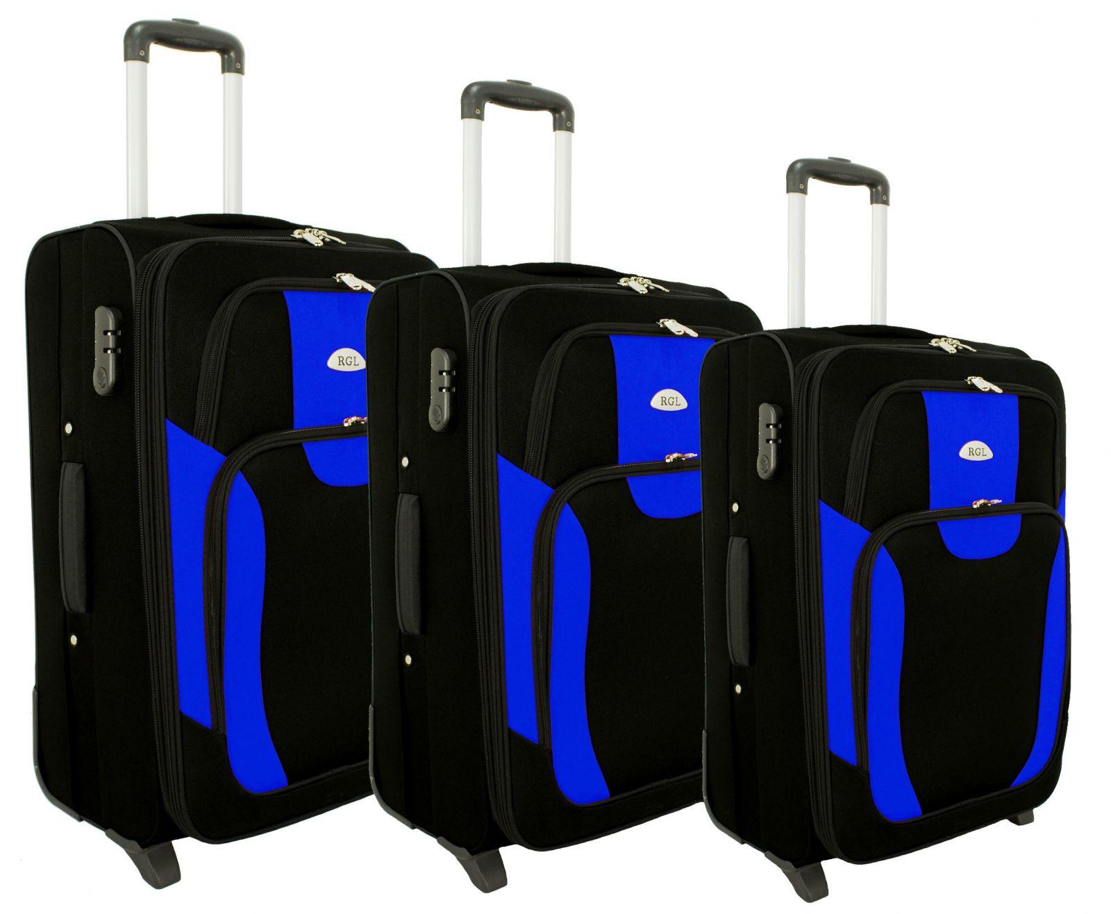 Sada 3 textilních kufrů RGL 1003 BLACK-GREY L/M/S