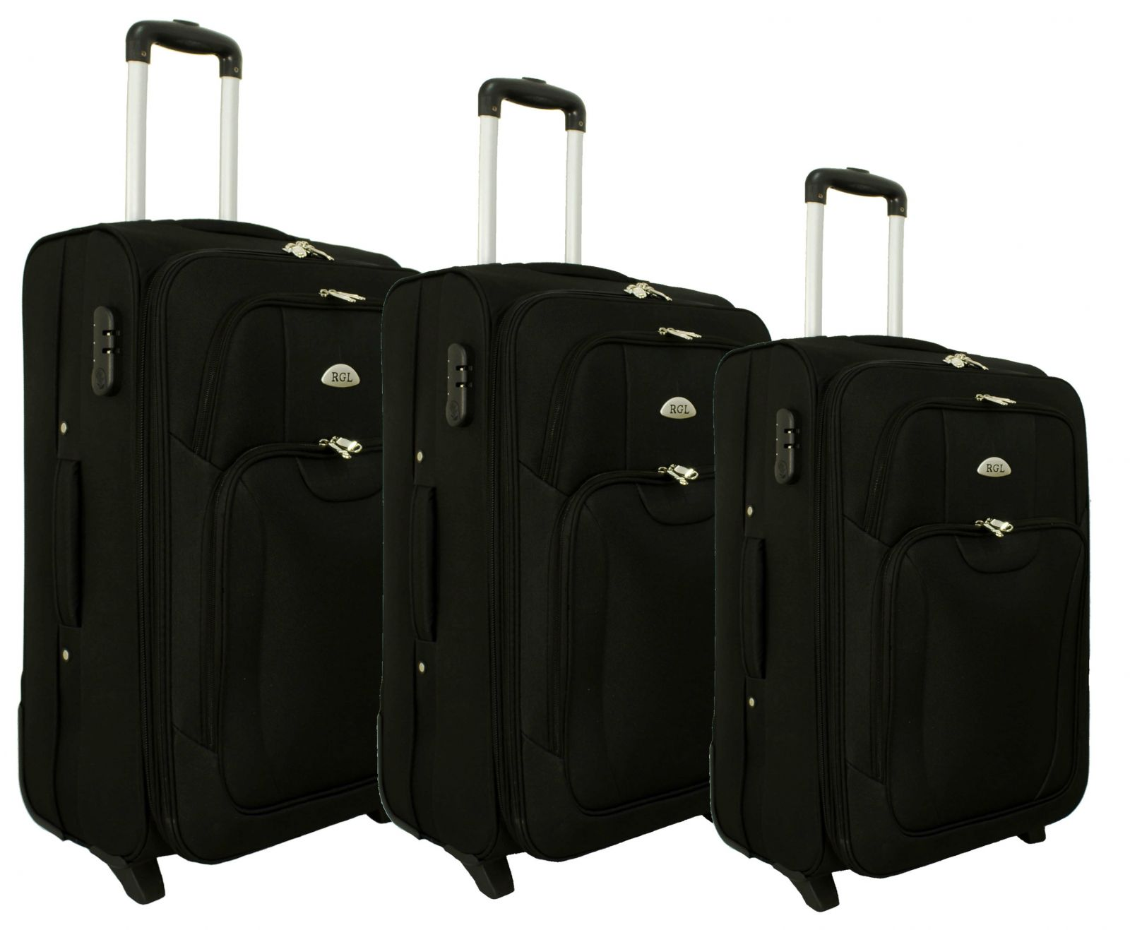 Sada 3 textilních kufrů RGL 1003 BLACK L/M/S