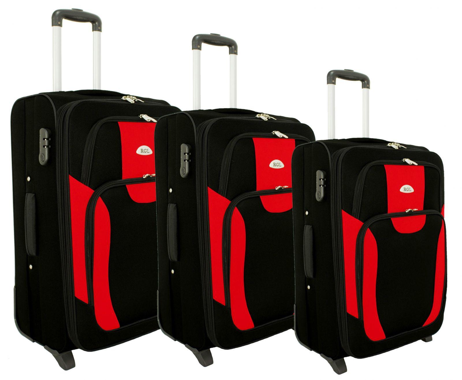 Sada 3 textilních kufrů RGL 1003 BLACK-RED L/M/S