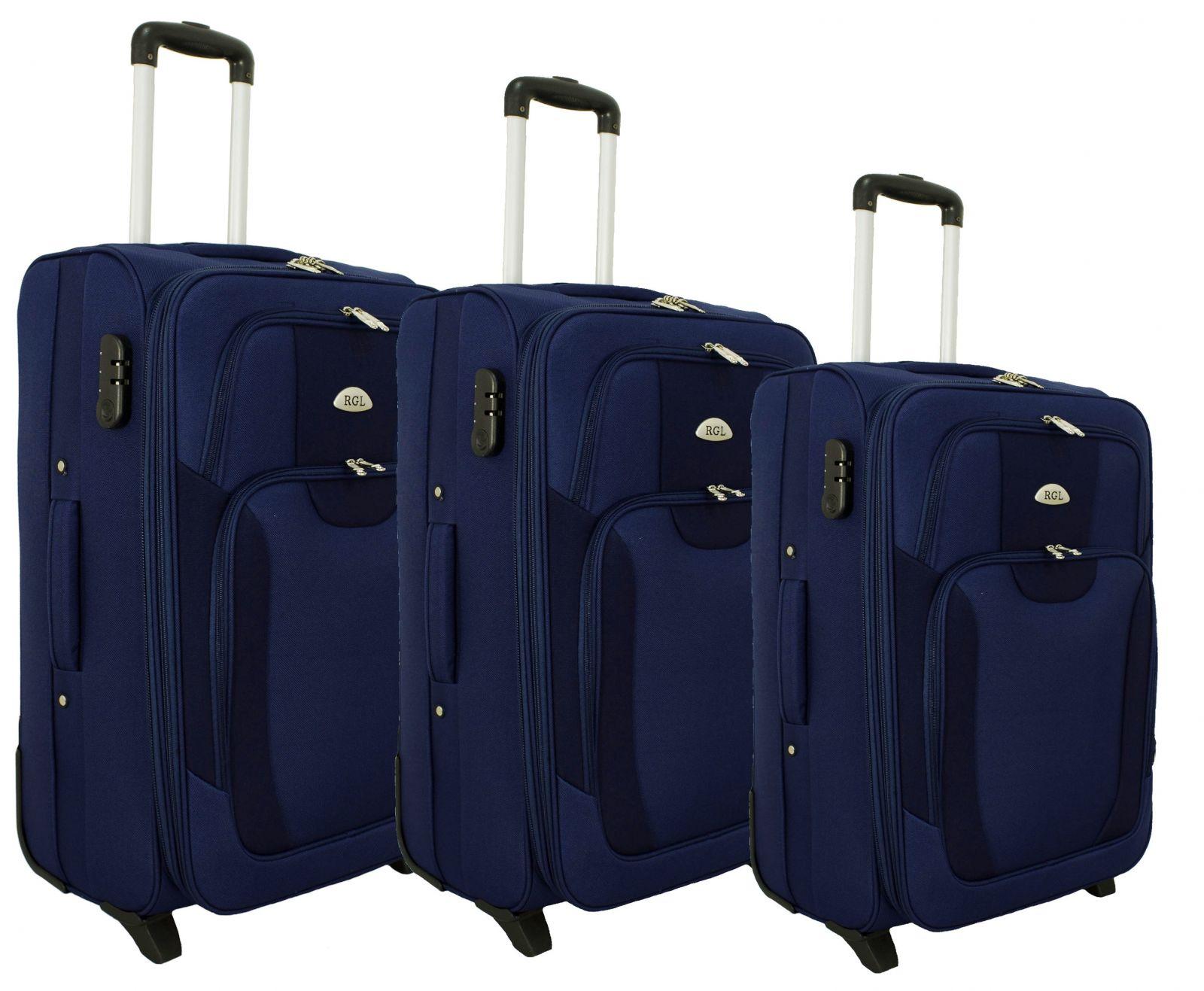 Sada 3 textilních kufrů RGL 1003 DARK-BLUE L/M/S