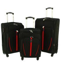 Sada 3 textilních kufrů RGL S020 BLACK-RED L/M/S