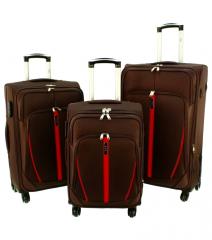 Sada 3 textilních kufrů RGL S020 COFFE-RED L/M/S