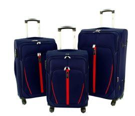 Sada 3 textilních kufrů RGL S020 DARKBLUE-RED L/M/S