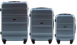 Cestovní kufry sada WINGS LOVEBIRD ABS SILVER BLUE L,M,S