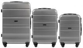 Cestovní kufry sada WINGS LOVEBIRD ABS SILVER L,M,S